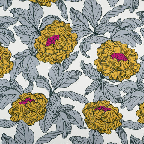 ochre flowers french terry knit fabric