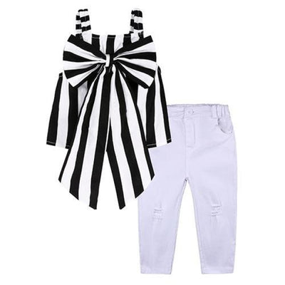 2 Pieces Kids Tops & Denim pants clothing set for Girls - Black Stripes / 18-24 months