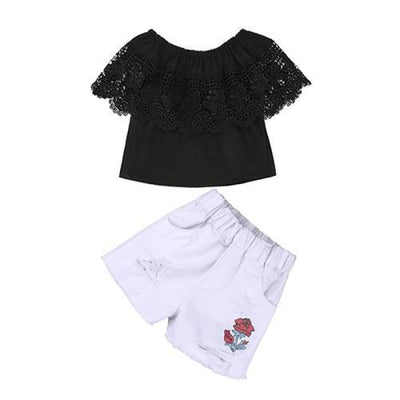 2 Pieces Kids Tops & Denim pants clothing set for Girls - Black + White / 18-24 months