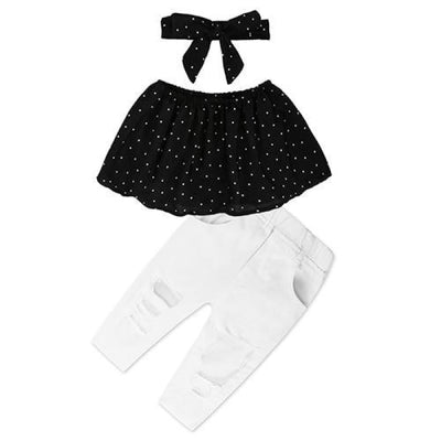2 Pieces Kids Tops & Denim pants clothing set for Girls - Black + White 2 / 18-24 months
