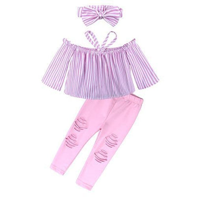 2 Pieces Kids Tops & Denim pants clothing set for Girls - Pink / 18-24 months