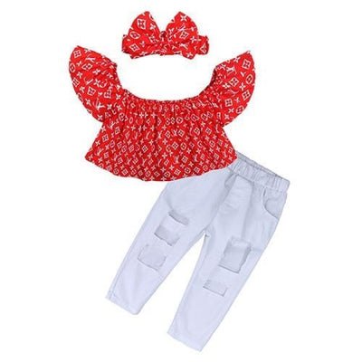 2 Pieces Kids Tops & Denim pants clothing set for Girls - Red + White / 18-24 months