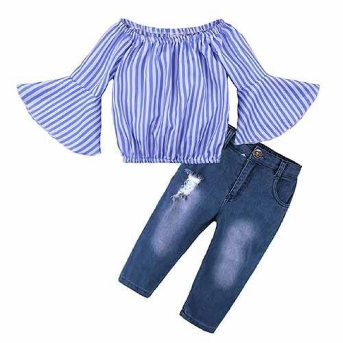 2 Pieces Kids Tops & Denim pants clothing set for Girls - Violet / 18-24 months
