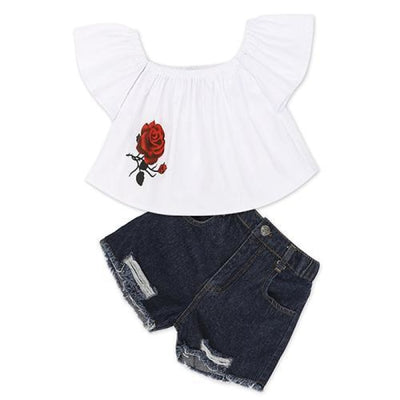 2 Pieces Kids Tops & Denim pants clothing set for Girls - White + Black / 18-24 months