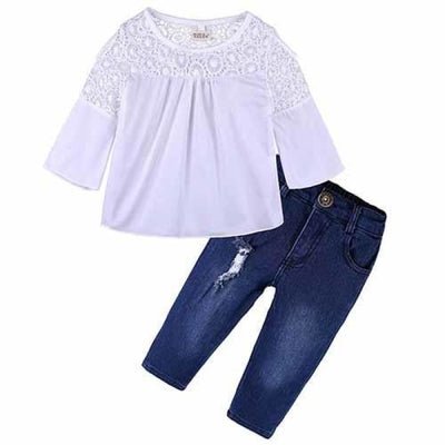 2 Pieces Kids Tops & Denim pants clothing set for Girls - White + Blue 2 / 18-24 months