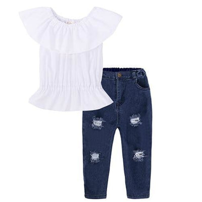 2 Pieces Kids Tops & Denim pants clothing set for Girls - White + Blue / 18-24 months