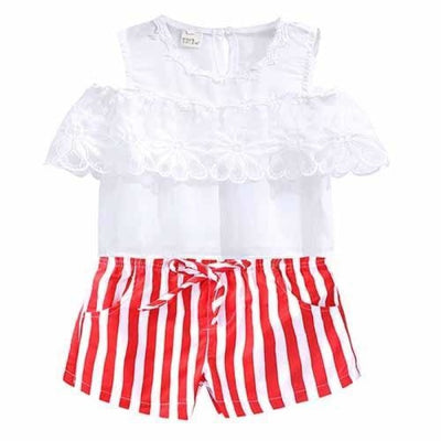 2 Pieces Kids Tops & Denim pants clothing set for Girls - White + Red 2 / 18-24 months