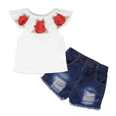 2 Pieces Kids Tops & Denim pants clothing set for Girls - White + Red / 18-24 months
