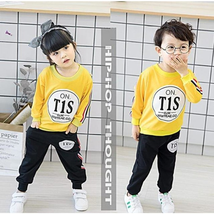 2pcs Unisex Kids Long Sleeves Cartoon Clothes - Red + Black / 18-24 months
