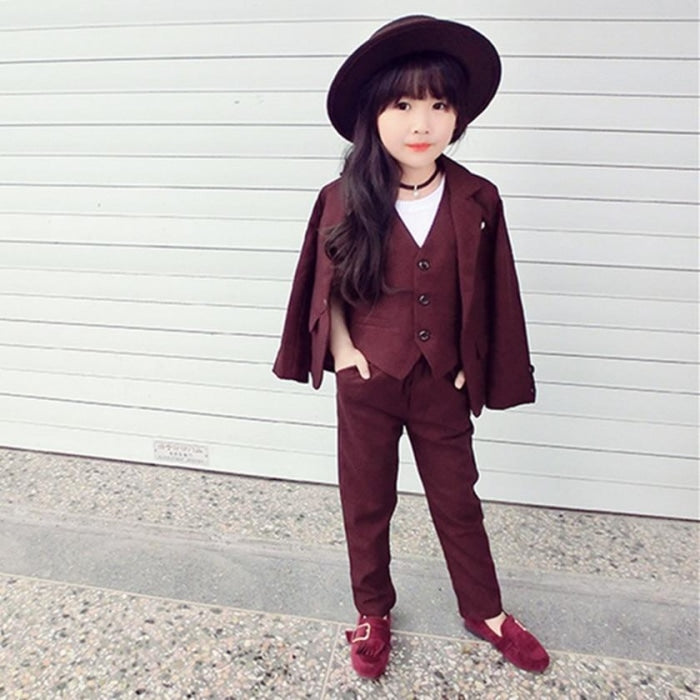 3 Pcs Formal Tuxedo Suit Set for Girls