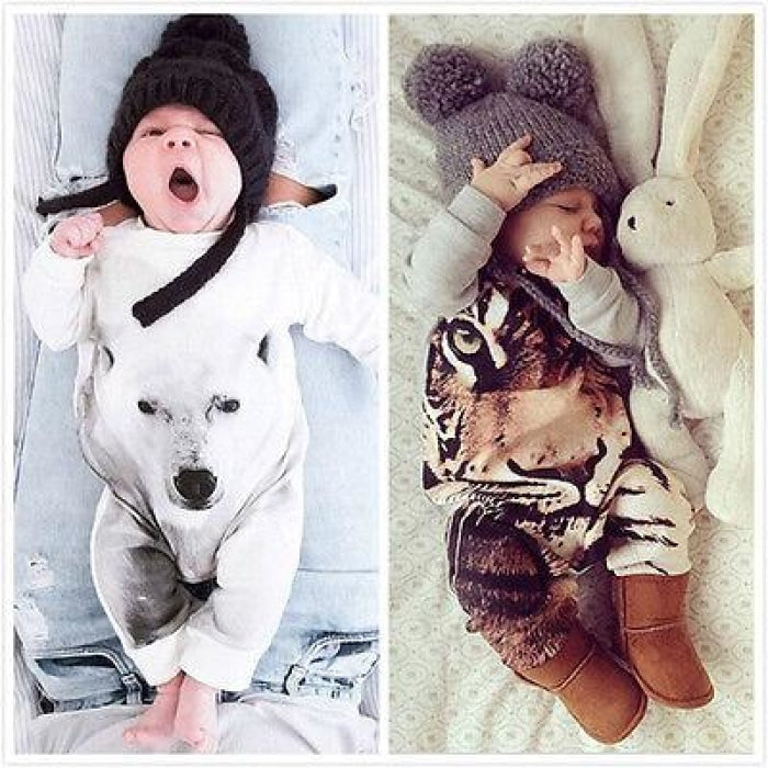 3D Animal Printed Romper for Babies Unisex
