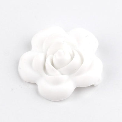 3pcs Toys Silicone Teether Clips for Babies - White Flower