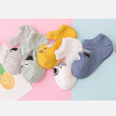 5 Pairs Cotton Socks Set - Yellow / 0-12 months