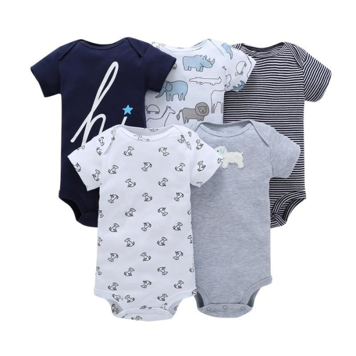 5 Pcs Babies Cotton Short Sleeve Cartoon Bodysuit Set