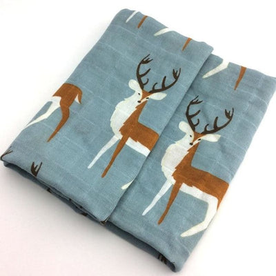 58x58cm Organic Cotton Scarf for Baby - Blue Deer