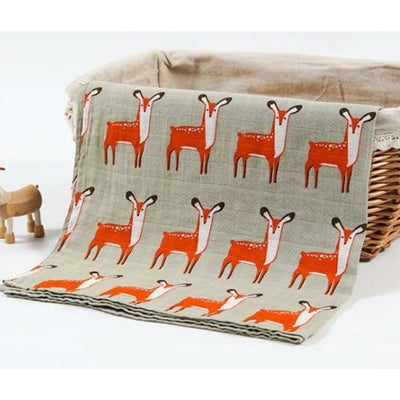 58x58cm Organic Cotton Scarf for Baby - Deer