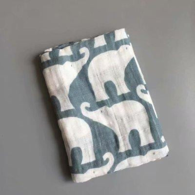 58x58cm Organic Cotton Scarf for Baby - Gray Elephant