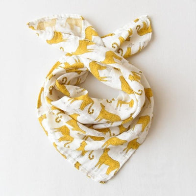 58x58cm Organic Cotton Scarf for Baby - Yellow White