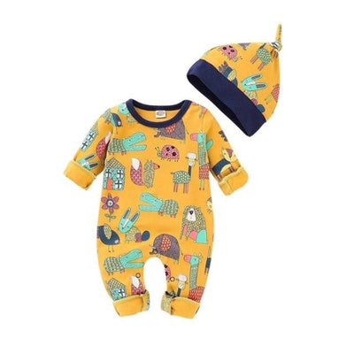 Adorable Animal Printed Rompers for Babies Unisex - Yellow / 0-3 Months