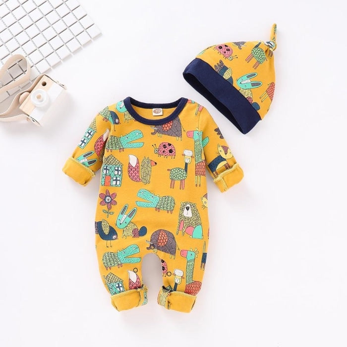 Adorable Animal Printed Rompers for Babies Unisex
