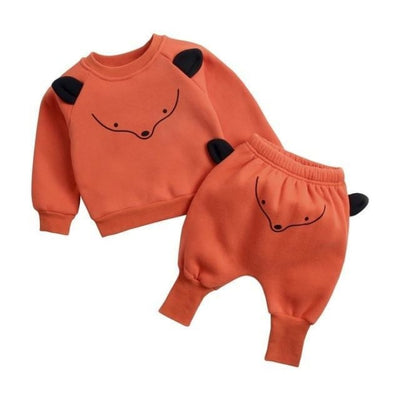 Adorable cartoon animal pattern Unisex Clothing set - Fox Suit / 9-12 months