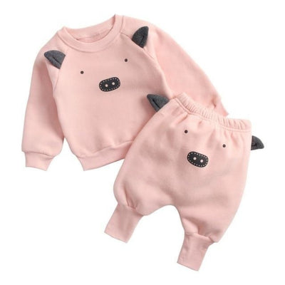 Adorable cartoon animal pattern Unisex Clothing set - Pig Suit / 9-12 months