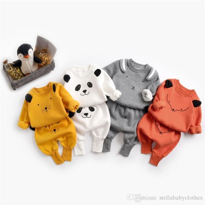 Adorable cartoon animal pattern Unisex Clothing set