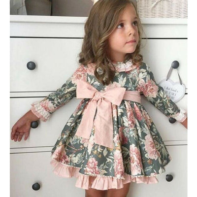 Adorable Long Flare Sleeve Party Dress for Girl