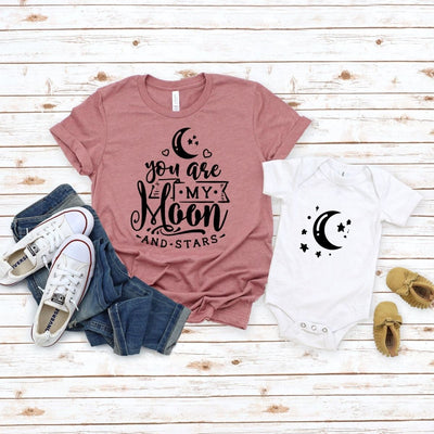 Adorable Matching shirt onesie Moon & stars for mom son daughter - New Born Onesie / White