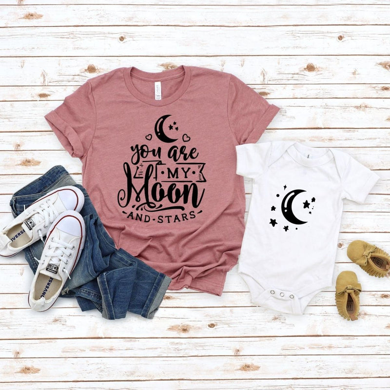 Adorable Matching shirt onesie Moon & stars for mom son daughter - 18-24 months Kid Shirt / White