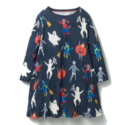 Aesthetic Long Sleeve Knee Length Dresses for Toddler Girls - Black 2 / 18-24 months