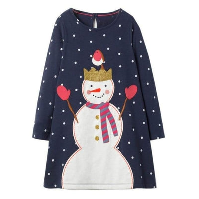 Aesthetic Long Sleeve Knee Length Dresses for Toddler Girls - Black Snowman / 18-24 months