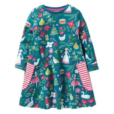 Aesthetic Long Sleeve Knee Length Dresses for Toddler Girls - Green / 18-24 months
