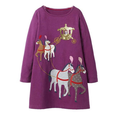 Aesthetic Long Sleeve Knee Length Dresses for Toddler Girls - Purple / 18-24 months