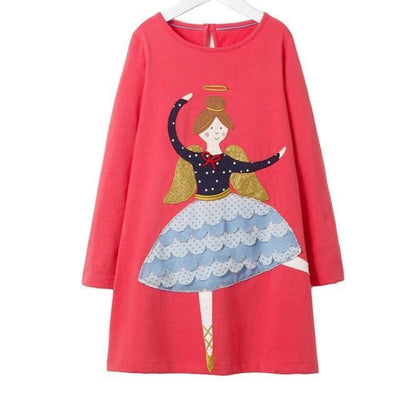 Aesthetic Long Sleeve Knee Length Dresses for Toddler Girls - Red / 18-24 months