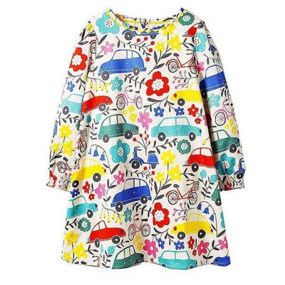 Aesthetic Long Sleeve Knee Length Dresses for Toddler Girls
