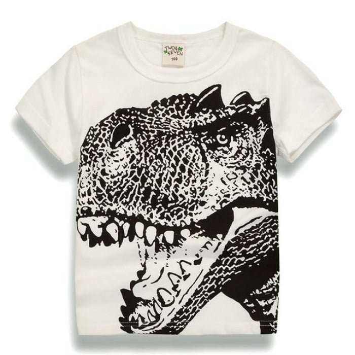 Angry Dinosaur Face T-Shirt - White / 18-24 months
