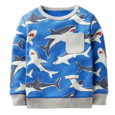 Animal Cotton Hoodies for Boys - Blue / 18-24 months