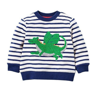 Animal Cotton Hoodies for Boys - Blue striped / 18-24 months