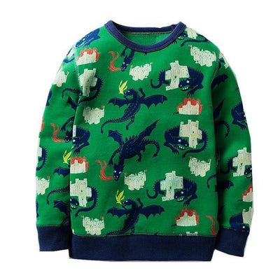 Animal Cotton Hoodies for Boys - Green / 18-24 months