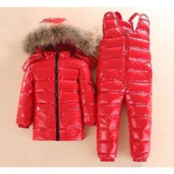 Animal Fur Winter Jacket Pants Set for Girls