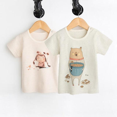 Animal Print Organic Cotton Tees for Baby Girl - Bear and girl / 3-6 months