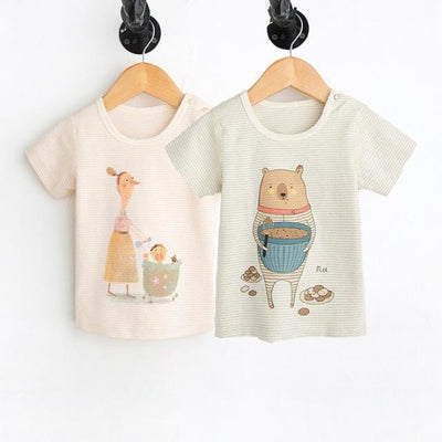 Animal Print Organic Cotton Tees for Baby Girl - Bear and mummy / 3-6 months