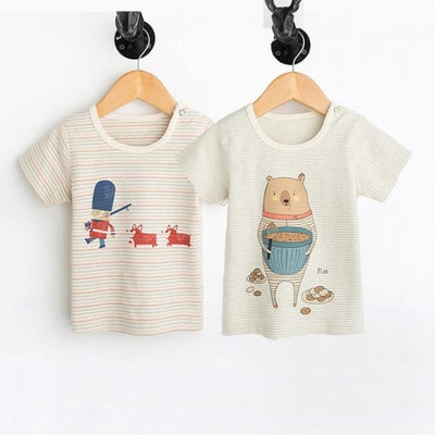 Animal Print Organic Cotton Tees for Baby Girl - Bear and soldier / 3-6 months