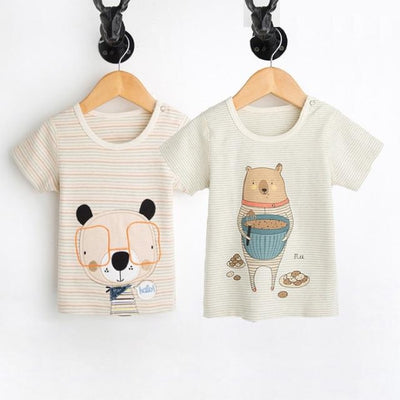 Animal Print Organic Cotton Tees for Baby Girl - Dog and bear / 3-6 months