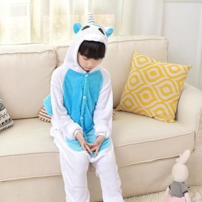 Animal theme Unisex Hooded Pajama Sleepwear sets - Blue Bear / 2-3 years