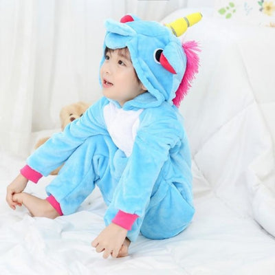 Animal theme Unisex Hooded Pajama Sleepwear sets - Blue unicorn / 2-3 years