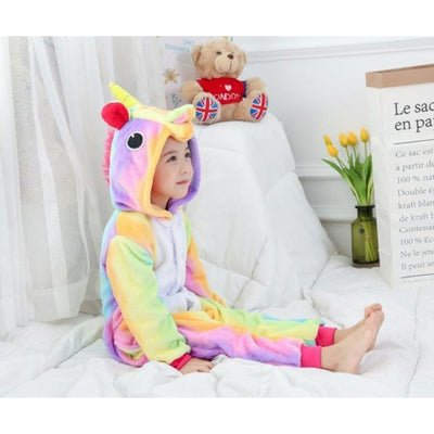 Animal theme Unisex Hooded Pajama Sleepwear sets - Colorful unicorn / 2-3 years
