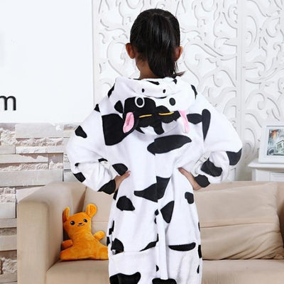 Animal theme Unisex Hooded Pajama Sleepwear sets - Cow / 2-3 years