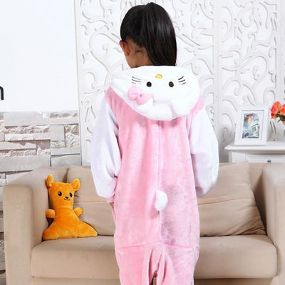 Animal theme Unisex Hooded Pajama Sleepwear sets - Cute Kitty / 2-3 years